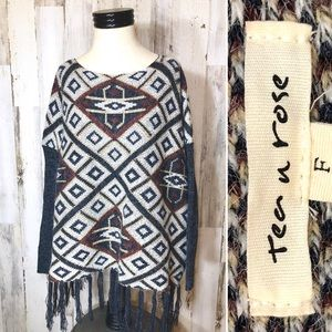 Tea n Rose Oversized Poncho Boxed Sweater